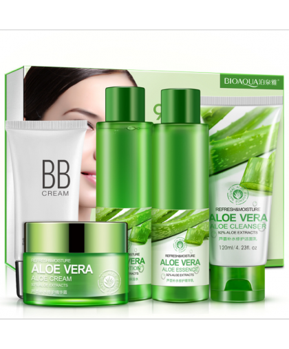 BIOAQUA НАБОР ИЗ 5 СРЕДСТВ ДЛЯ ЛИЦА С АЛОЭ ВЕРА 5-SET REFRESH & MOISTURE ALOE VERA 92% БИОАКВА